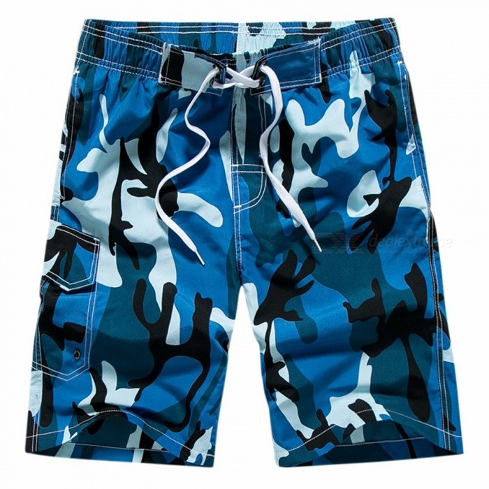 Summer Camo Print Mens Board Shorts Youth Beach Shorts Loose Half Pants Knee-Length Pants Elastic Waistband Blue/M