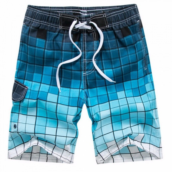 Summer Grid Pattern Print Mens Board Shorts Youth Beach Shorts Loose Half Pants Knee-Length Pants Elastic Waistband Blue/M