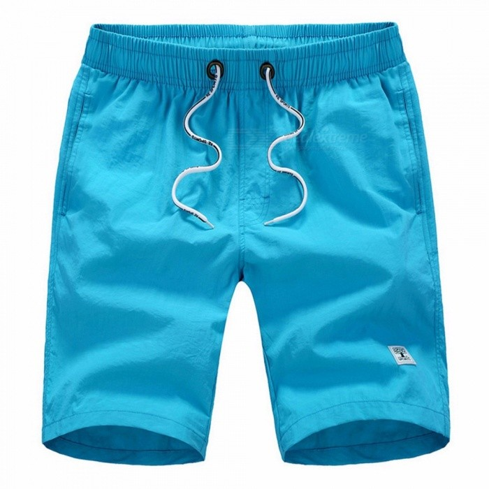 Summer Solid Color Mens Board Shorts Youth Beach Shorts Loose Half Pants Knee-Length Pants Elastic Waistband Black/M
