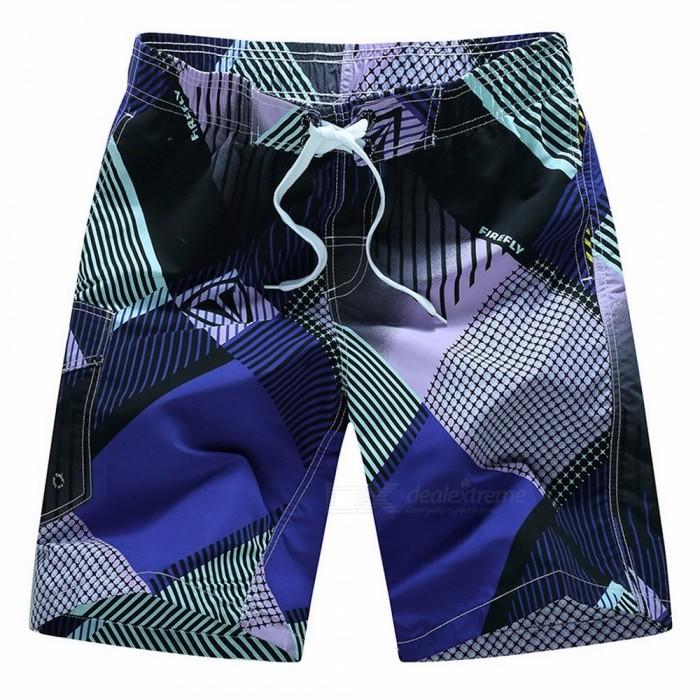 Summer Contrast Color Mens Board Shorts Youth Beach Shorts Loose Half Pants Knee-Length Pants Elastic Waistband Purple/M