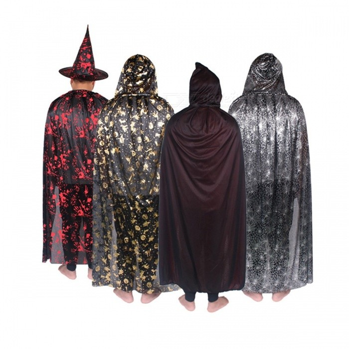 Unisex Scary Cosplay Party Wear Viscose Costumes Halloween Hooded Cloak Long Adult Costumes Gold