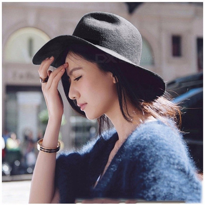 Roll Brim Men Women Woolen Felt Fedora Hat With Belt Buckle British Style Black Jazz Formal Party Trilby Hats Unisex Black
