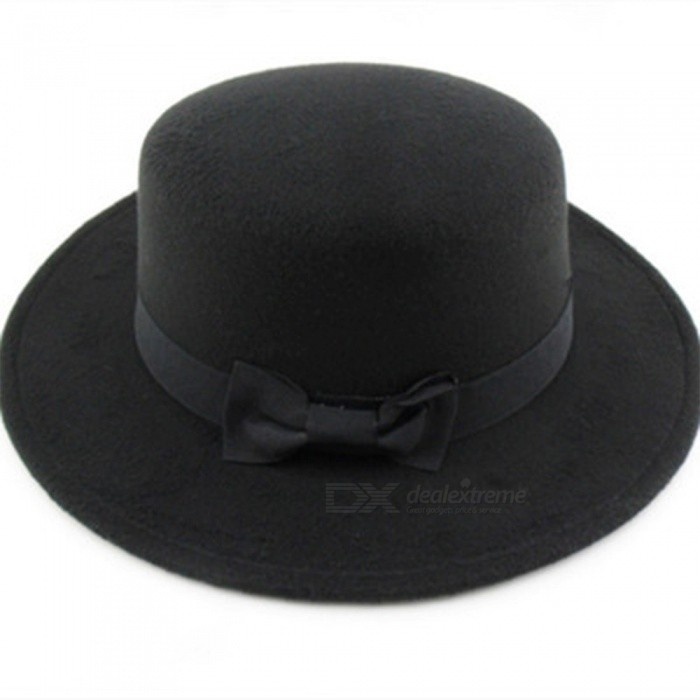 Fashion Wide Flat Brim Jazz Woolen Felt Fedora Trilby Hat Buckle Lady Formal Party Black Top Unisex Hats 3 Colors Black