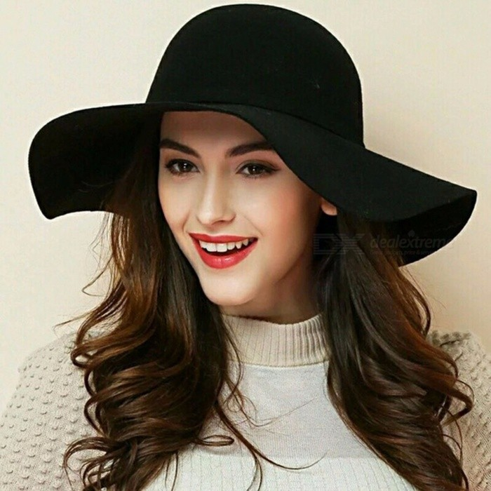 Women Beach Sun Hats Waves Big Brim Sunbonnet Imitation Wool Sun Hat Fashion Women Summer Hat