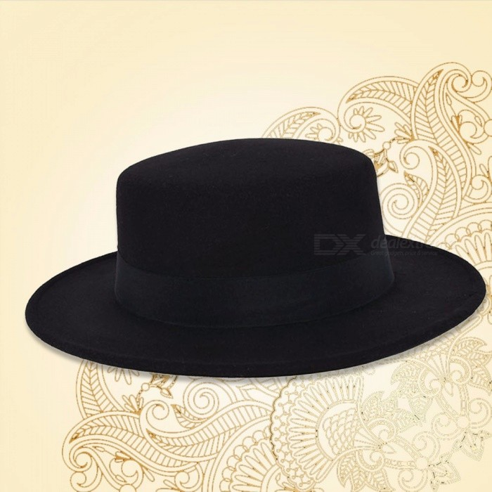 Fashion-Wide-Flat-Brim-Jazz-Woolen-Felt-Fedora-Trilby-Hat-Buckle-Lady-Formal-Party-Black-Top-Hats-2-Colors-Black