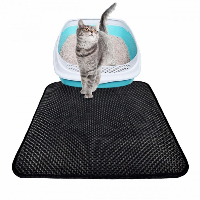 Cat-Litter-Mat-EVA-Double-Layer-Cat-Litter-Beds-Trapper-Mats-With-Waterproof-Bottom-Layer-Black