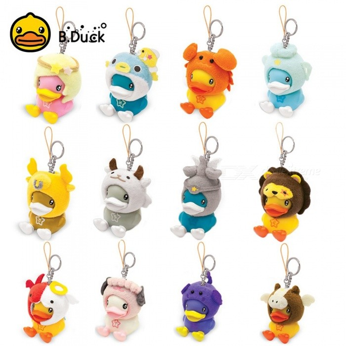 B.Duck Cute Duck Keychain, Lovely Cartoon Animal Bag Hanging Keyring Pendant Decoration For Men Women - Virgo Yellow