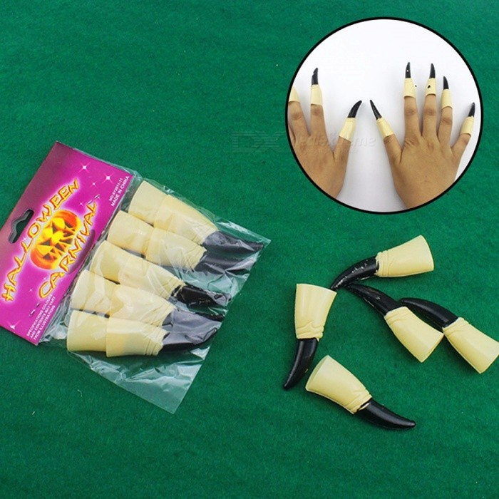 10Pcs Zombie Fake Fingers, Witch Nail Set Cover Halloween Prop Party Decoration Witch Ghost Nail Set, False Finger Nail One Size