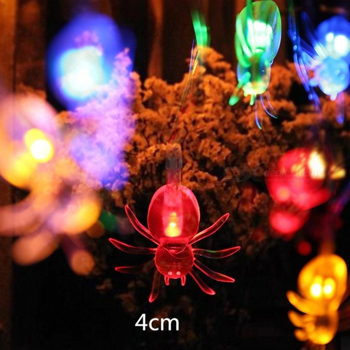 10 LED Hanging Halloween Decorations Spider LED String Lights Lanterns Lamp For DIY Home Outdoor Party Supplies RGB/0-5W