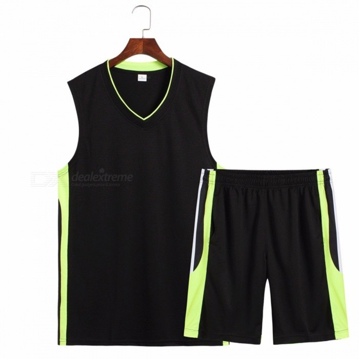Summer Men's Casual Pajama Sets V-Neck T-shirt+Pants Sportwear Sleeveless Home Clothes Pajamas Black/L