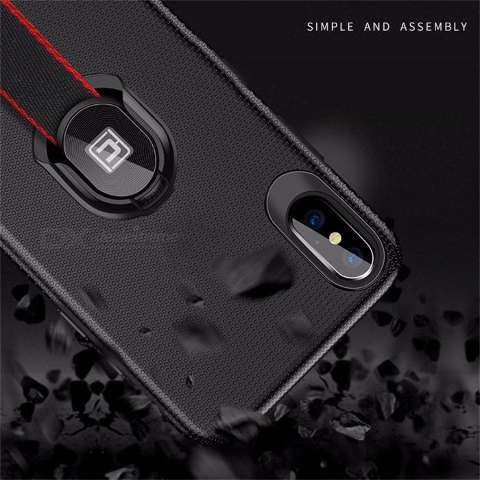 Ultra Thin Slim Anti-Scratch Phone Back Cover Case With Woven Strap Kickstand Design For IPHONE X