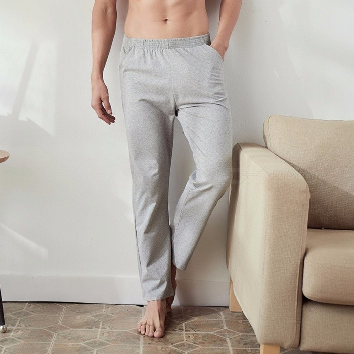 Pure Cotton Men's Sleep Bottoms, Loose Casual Plus Size Long Pants Trousers For Men Black/M