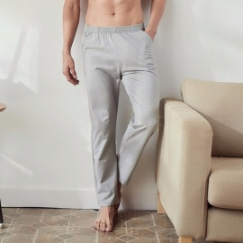 Pure-Cotton-Mens-Sleep-Bottoms-Loose-Casual-Plus-Size-Long-Pants-Trousers-For-Men-BlackM