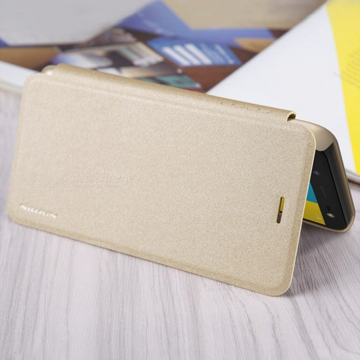 Dust-proof Flip-Open Leather Back Cover, Phone Case For Samsung Galaxy J6 Gold/PC