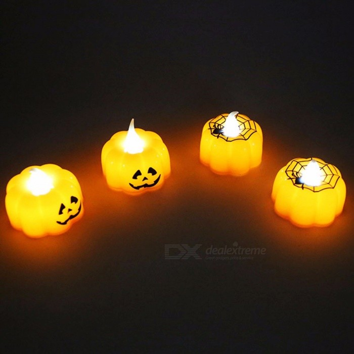 12Pcs Creative LED Pumpkin Cobweb Night Light, Electronic Candle Light For Home Halloween Party Decoration Yellow/Orange/0-5W