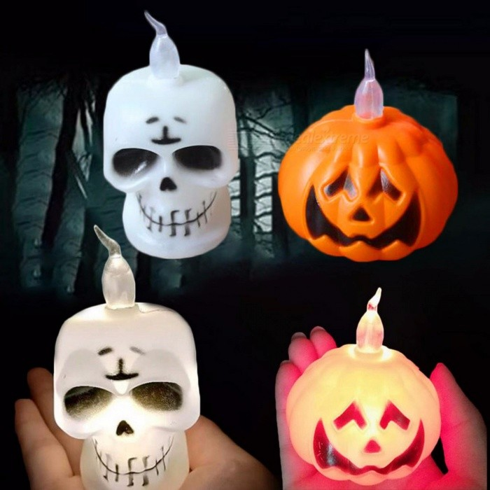 Mini Halloween LED Candle Light, Pumpkin Night Light Party Supplies White/Orange