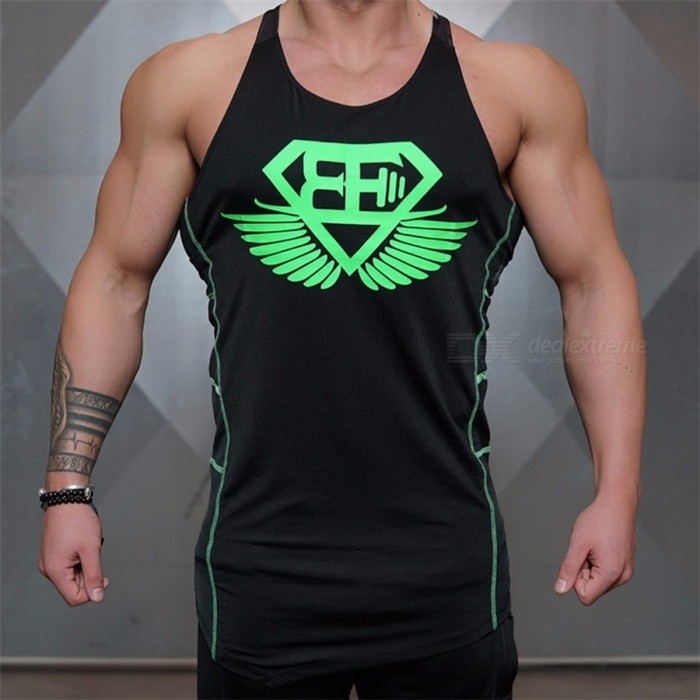 Printing Sleeveless Slim Fit Vest, Casual Exercise Workout Sports Tank Tops Vest For Men Black/M
