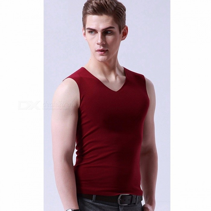 Ice Silk Seamless Fast Dry Men's Tank Top Vest, V Neck Elastic Thin Slim Man Undershirt Tank Tops T-shirt - Navy Blue