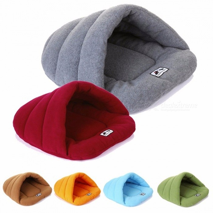 Soft Fleece Winter Warm Pet Dog Bed Small Dog Cat Sleeping Bag Puppy Cave Bed Burgundy