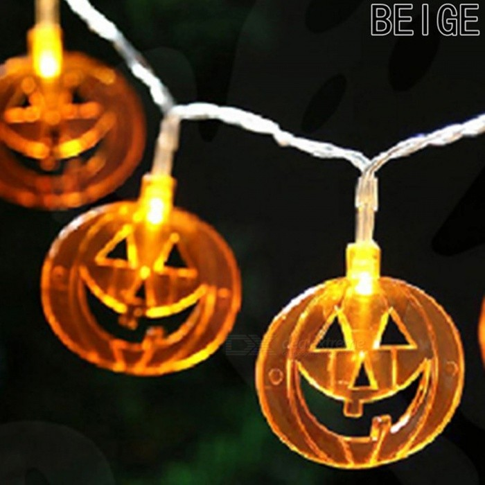 Halloween Decorative Lights String Hollow Pumpkin Head Battery Box Light 1.2 Meters 10 Lights Warm White/0-5W