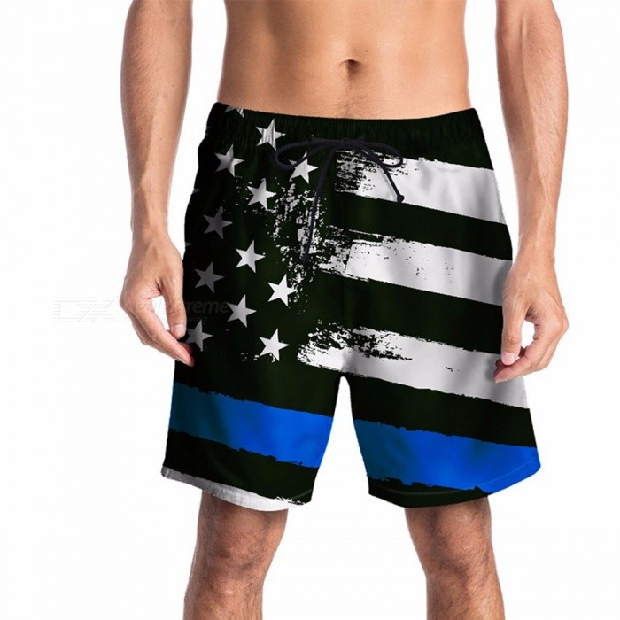 Men\'s Summer Plus Size Casual Loose Shorts Quick Drying Shorts With American Flat Printing And Drawstring For Beach Black/M