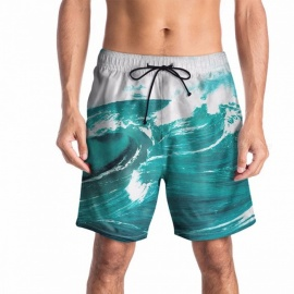2018-New-Mens-Summer-European-Code-Pants-Shorts-Creative-Wave-Print-3D-Beach-Fashion-Casual-Large-Size-Swim-Trunks-TurquoiseM