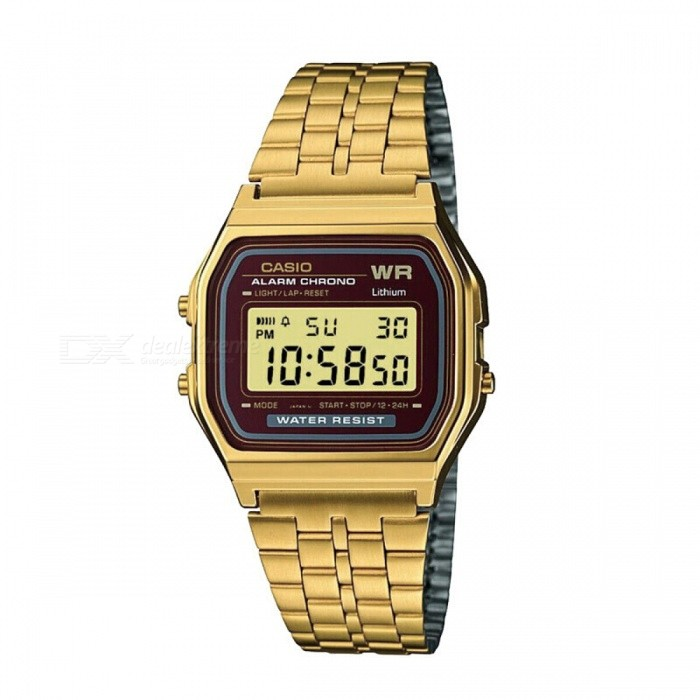 Casio A159WGEA-5 Unisex Retro Digital Quartz Stainless Steel Watch - Gold & Red (Without Box)