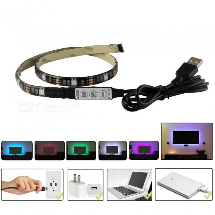 5v Rgb Led Usb Tape Light 50cm Strip W 1m Tv Backlights For The Computer Pc Background Accent Lighting