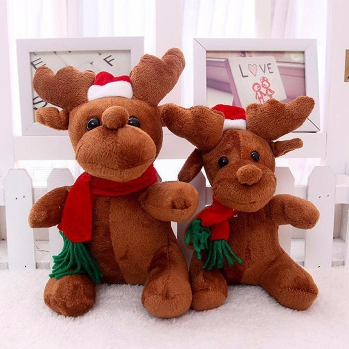 Santa Claus Elk Doll Company Activity Gift With Music Christmas Deer Doll Christmas Gift Brown