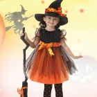 Girls-Cosplay-Princess-Dress-Childrens-Halloween-Witch-Pumpkin-Costume-Teenage-Kid-Clothes-BlackMOther