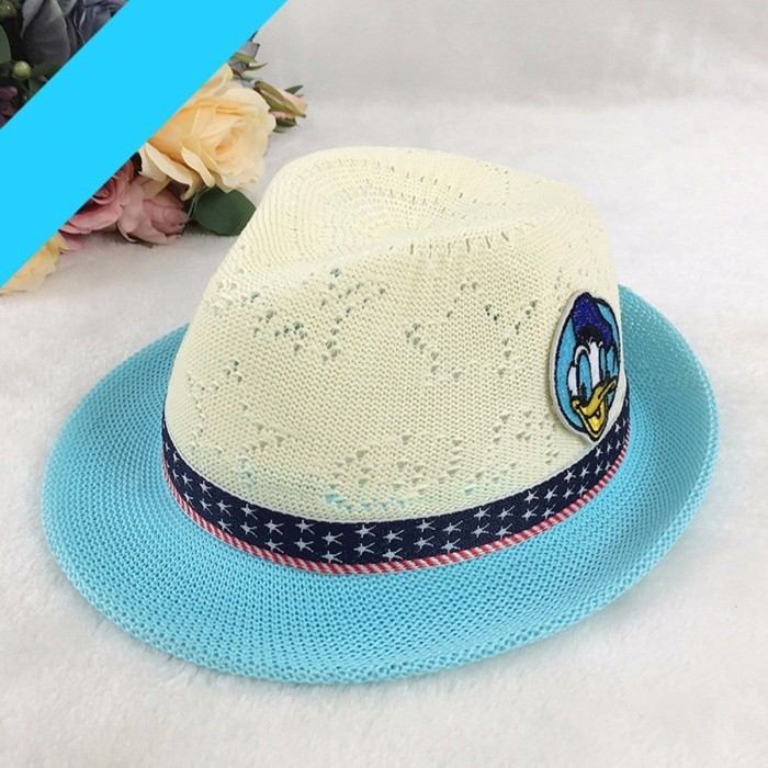 Summer Cartoon Duck Pattern Contrast Color Hat For Kids Girls Boys Casual Straw Sun Hat For Outdoor Travel Khaki