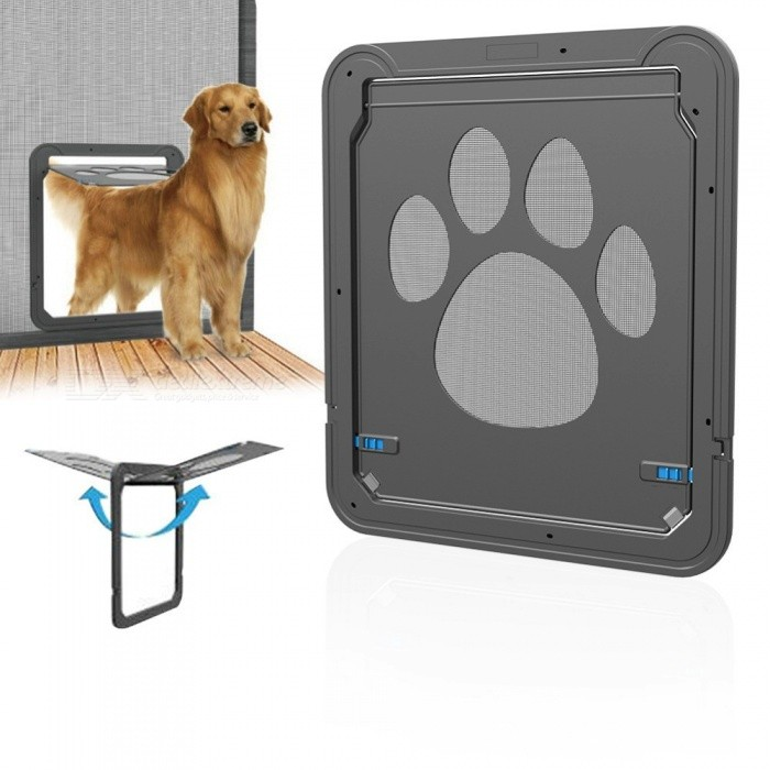 Pet-Door-Gate-ABS-Multifunction-Pets-Magnetic-Door-Dog-Innovative-Gauze-Window-Door-For-Cat-Small-Medium-Large-Dogs-Black