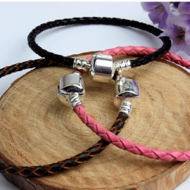 Head Layer Leather Buckle Bracelet Sterling Silver Classic Accessories For Women Men Base Chain With Charm Beads
