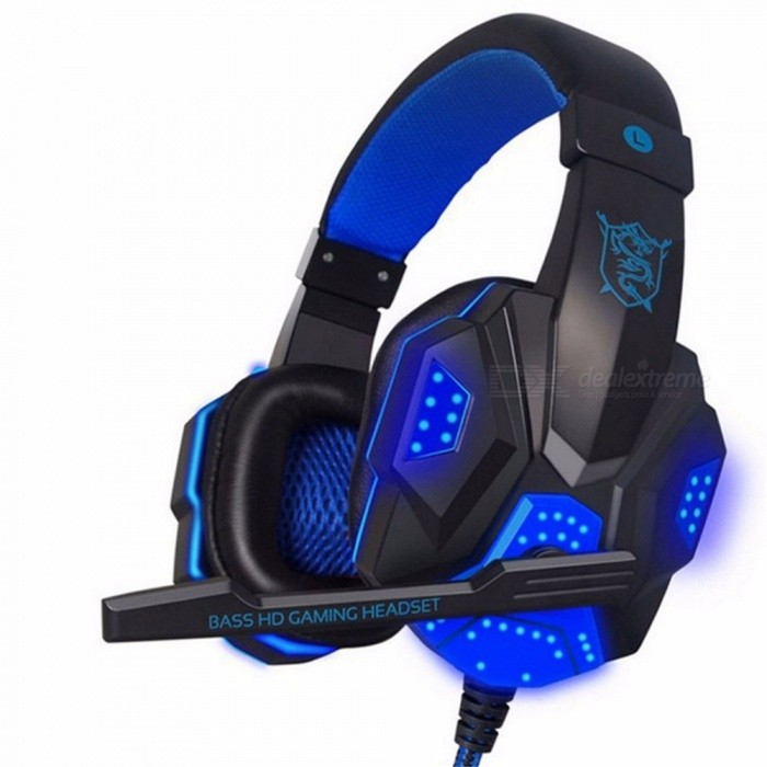 NDJU Deep Bass Gaming Headphone, Over-Ear Gamer Headband Headset with MIC, Stereo Earphone with Light For Computer PC