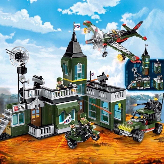 Building-Blocks-Models-Building-Toy-Airborne-Chariot-Attack-Aircraft-Missile-Military-Model-DIY-Assembly-Bricks-Green