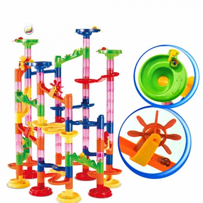 Tunnel Blocks Toy, Kids DIY Assembly Marble Race Run Maze Balls Track Building Blocks For Children, Educational Toy Multicolor