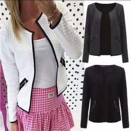 Women's Fashion Collarless Jacket, Short Paragraph Zipper Coat Blazer For Autumn And Winter