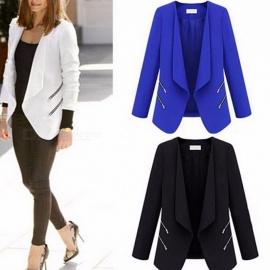 Spring-And-Autumn-Womens-Suit-Jacket-Personality-Zipper-Pocket-Slim-Suit-White