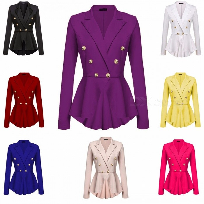 Both Row Metal Buckle Suit Coat, Woman Girl Sexy Summer Plus Size Bodysuit, Loose Casual Office Formal Jacket Purple/S