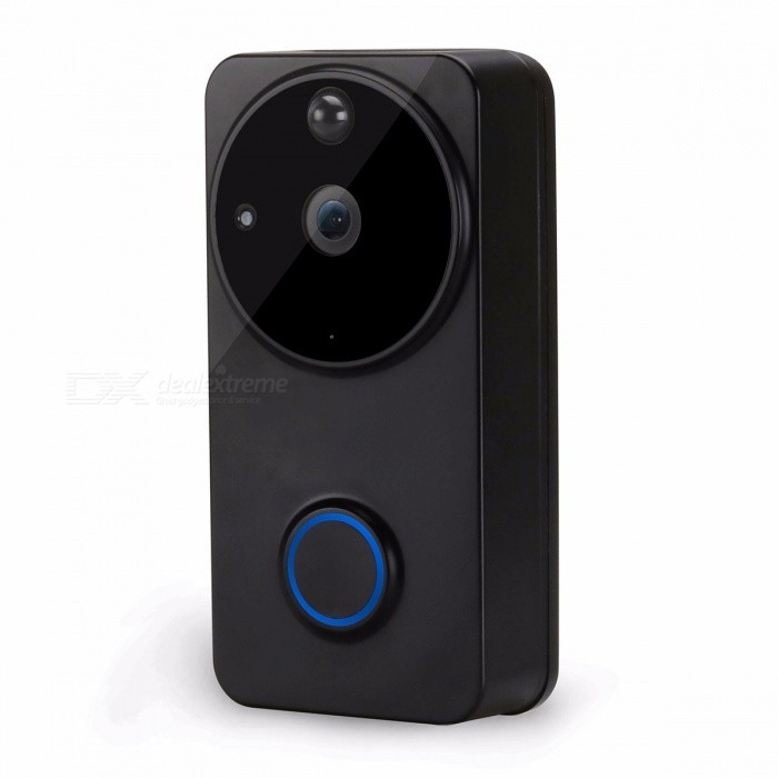 720P Wireless WIFI Battery-powered Video Doorbell With Night Vision And Motion Detection Black