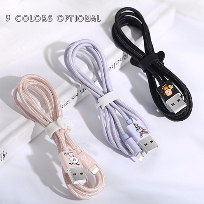 USAMS US-SJ234 U8 Moe Pet  Data Cable 1.2m Charging Transmission 2 In 1 Cute Pet Data Line For Apple Phone