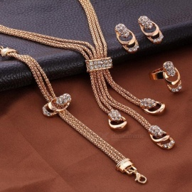 34cd104d6 Bridal Jewelry Sets Wedding Engagement Necklace Earring For Bride Party Costume  Jewellery Sets Women Gold