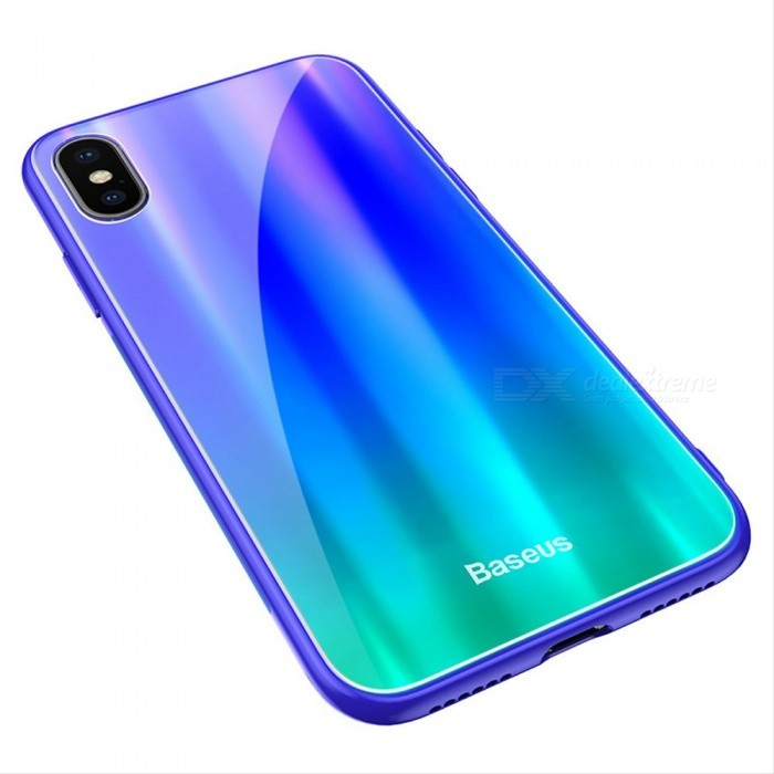 Baseus Mobile Phone Case Protective Tempered Glass Back Case Cover Anti-knock Cases For IPHONE X Black фото