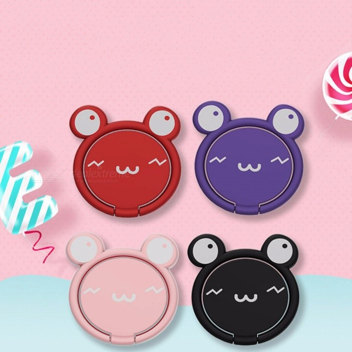 Creative Cartoon Cute Car Finger Ring Holder For Cell Phone, Universal Metal Ring Desktop Stand Pink