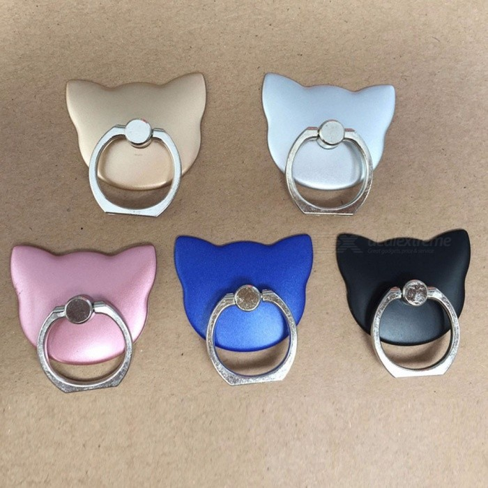 2PCS Mobile Phone Holder Stand Cat Head Metal Finger Ring Holder Bracket Ring Buckle Lazy Person Support Phone Holder