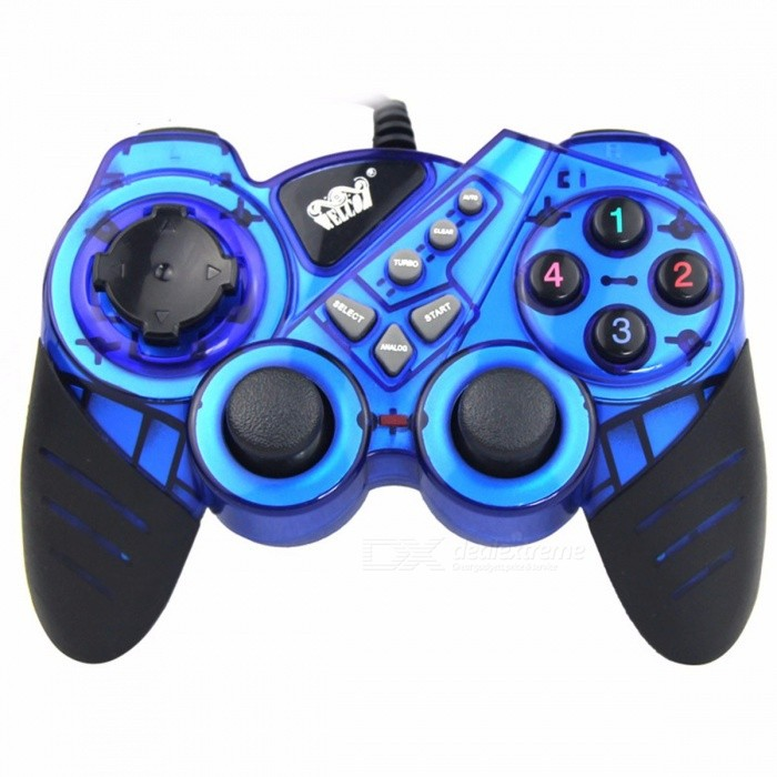 Wired-Game-Controller-Handle-Shock-Stick-JoyPad-Dual-Shock-Vibration-Gamepad-For-PC-Red