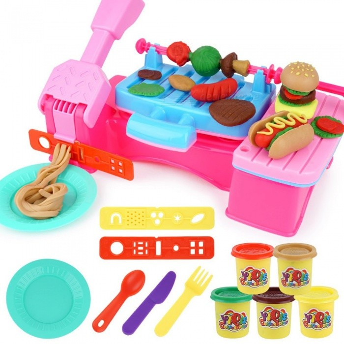 New-Children-Modeling-Clay-Toy-Set-Plasticine-Non-toxic-Barbecue-Mold-Tool-Suit-Children-Ultraclay-Toys-Pink