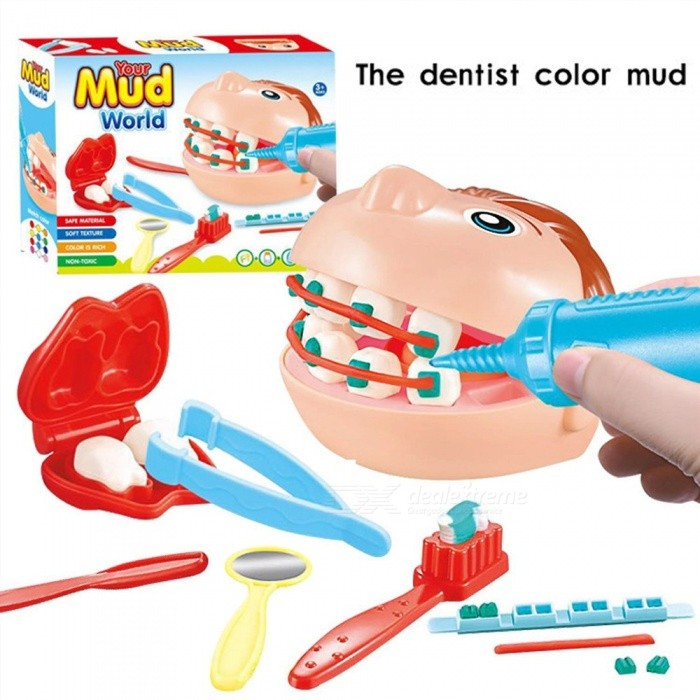 Children Dentist Workshop Plasticine Suit Simulation Doctor Toys Teeth Protection Play House Learning Educational Toys Multicolor