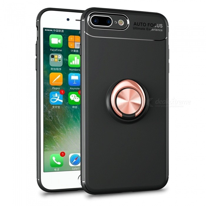 Xsuni Protective Silicone Back Case Cover With Magnetism Ring For Iphone 8 Plus Black Rose Gold