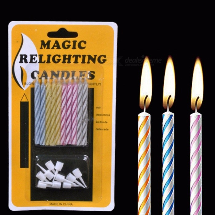 10Pcs Magic Relighting Candles Prank Toys Funny Birthday Candle Creative Novelty Blowing Immortal Multicolor